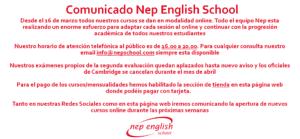 Anuncio comunicado nep english school coronavirus covid19 academia ingles malaga